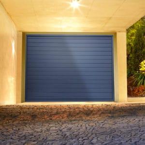 Porte de garage alu sectionnelle isolée Nacre