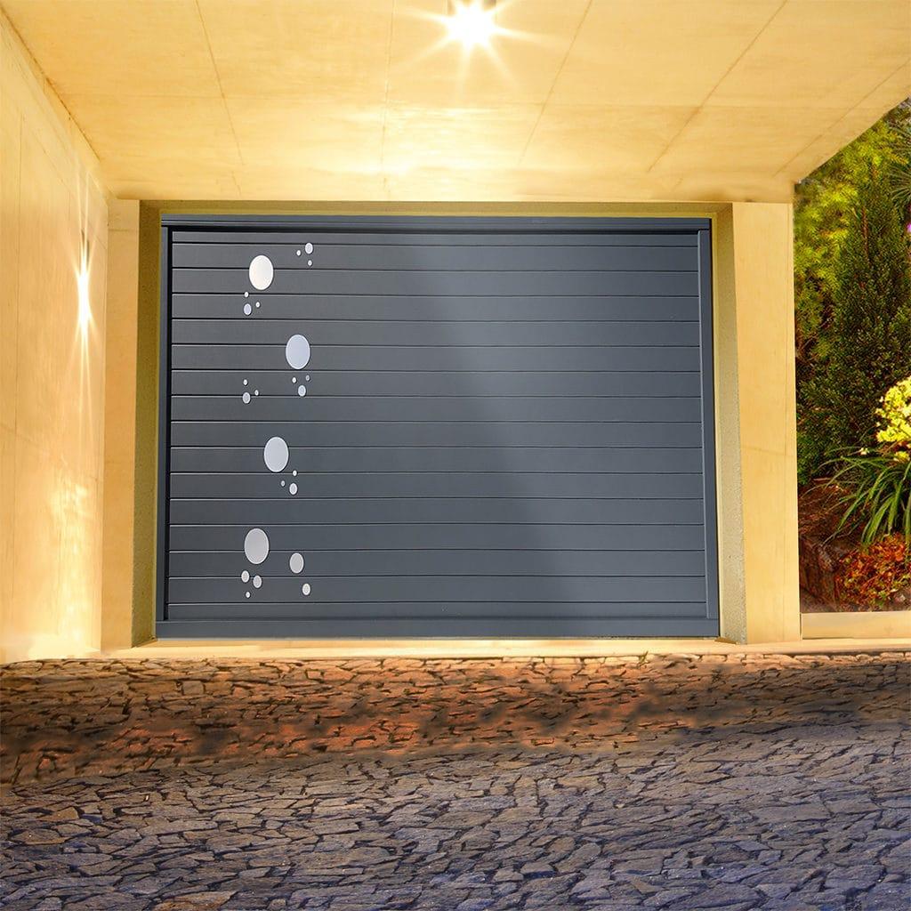 Porte de garage alu sectionnelle isolée Perle